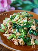 小松菜たっぷり♪『止まらない♡鶏もも肉の卵炒め♪♪』