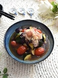 夏野菜(なす・ズッキーニ・トマト)のポン酢あんかけ