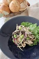 しっとりゆで鶏とごぼうのマスタードサラダ