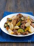豚こまとズッキーニと長芋の味噌マヨ炒め