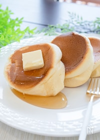 『型不要なのにふわふわ!ホットケーキミックスでスフレパンケーキ』