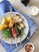 焼き野菜串とお豆腐ディップ。