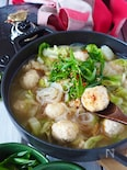 【節約むね肉鶏団子】とろとろ白菜とえのき鶏団子のとろみ煮
