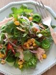 サラダチキンと春菊のエスニックサラダ