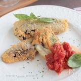 茄子のベーコン&チーズはさみ揚げ§速攻トマトソースたっぷりと