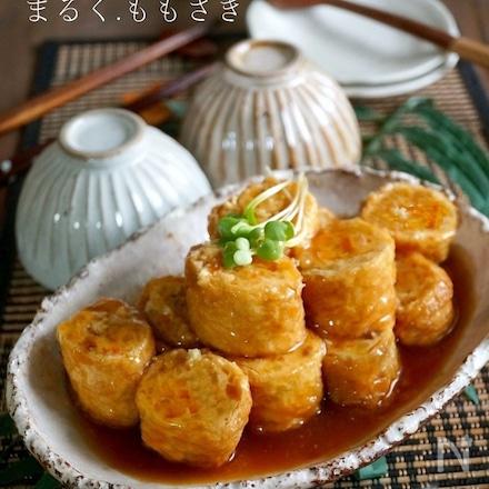 生姜あんで食べる♪豆腐入り鶏ひき肉の油揚げロール