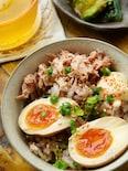 半熟とろ~り幸せ♪にんにく香るラーメン屋さんの味卵丼!