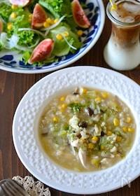 『もち麦入りささみとキャベツの食べるスープ煮』
