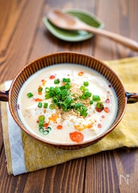 『【ピリ辛豆乳の坦々風温豆腐】3分で完成♬︎温かいおかず♡』