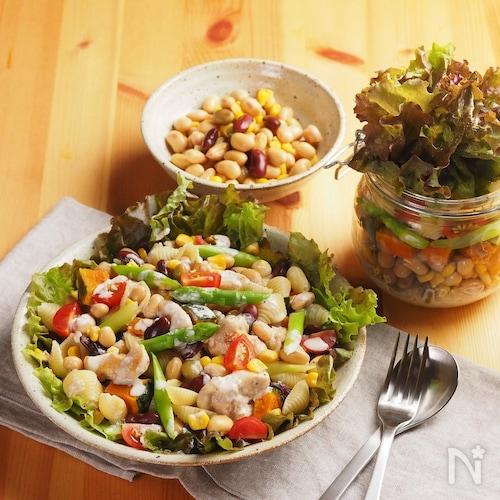 「サラダに!まめコーン」de鶏むねチョップドサラダ