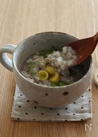 『おろし蓮根と押し麦のスープ』