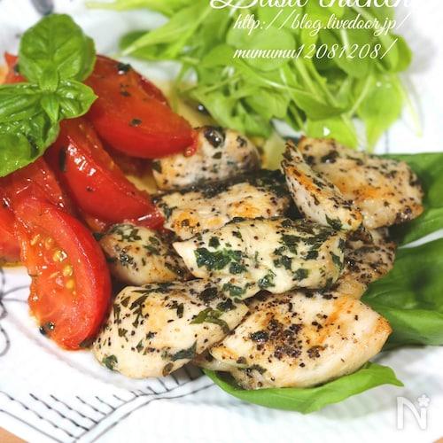鶏むね肉とトマトのバジルオイル焼き。