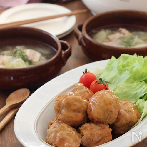 2品同時調理!ふわふわ照り焼き肉団子とキャベツのスープ
