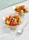 たこと野菜のポン酢ジュレサラダ。トマト、コーンで彩り前菜♪