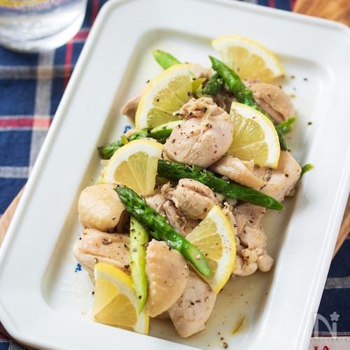 鶏肉とアスパラの塩レモンだれ【#簡単#時短#下味冷凍】
