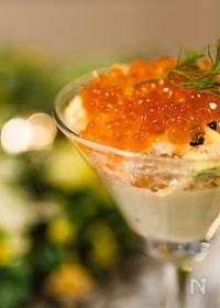 『蟹とズッキーニのジュレ&枝豆豆腐ムース』