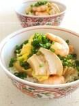 塩麹三昧☆車麩たまごdeプリッと海老丼