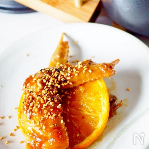 コラーゲンたっぷり鶏手羽先のオレンジ煮#作り置き#お弁当