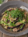 【ご飯に乗せたい】豚ひき肉と茄子ピーマンのスタミナ味噌炒め