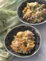 鶏肉とグリンピースの卵とじ