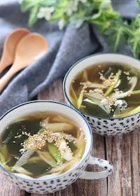 『5分で完成!さっぱり美味しい♡わかめとねぎの和風スープ』