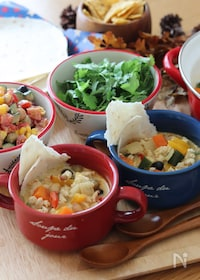 『ヘルシー♡鶏ひき肉と彩り野菜のメキシカン豆乳カレースープ』