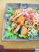 素揚げ根菜と水菜のサラダ
