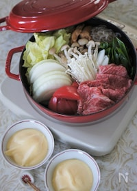 『ストウブSukiyaki&グリルパンで関西風トマトすき焼き』