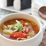 鶏ひき肉とトマト&キャベツの和風スープ