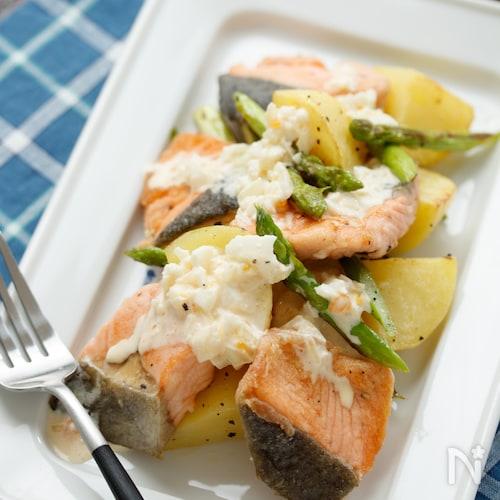鮭とポテトのタルタルソースがけ【#簡単#時短#仕込み】