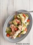 キャベツと鶏むね肉のフライパン蒸し~オーロラソース~