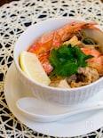 鍋みたいなエビと厚揚げのごちそうスープ