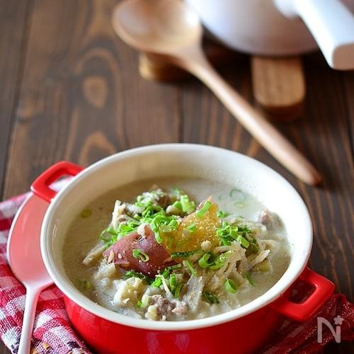 切り干し大根の食べるごま味噌豆乳スープ鍋
