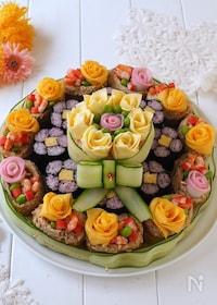 『パーティーやお祝いに!取りやすい寿司ケーキ』