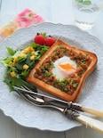 つくりおきそぼろで♪とろーり卵の鶏そぼろトースト