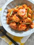 【15分】ボリュームおかず・鶏団子とレンコンのケチャマヨ炒め