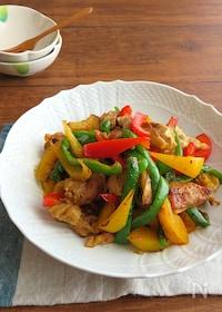 『ごはんがすすむ和総菜☆鶏肉とパプリカのカレー炒め』