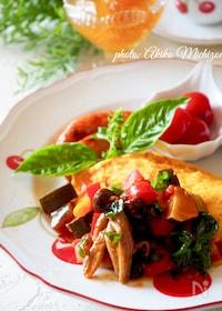 『ふわとろオムレツ夏野菜ソース#簡単#作り置き#ラタトゥイユ』