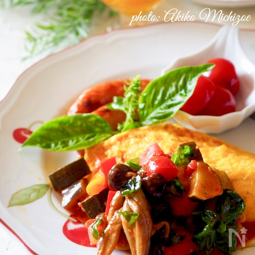 ふわとろオムレツ夏野菜ソース#簡単#作り置き#ラタトゥイユ