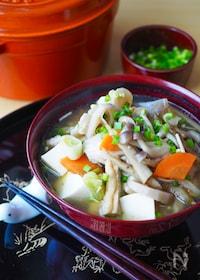 『冷凍野菜で簡単!豆腐たっぷりけんちん汁*時短作り置き』