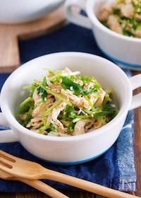 『レンジ&ワンボウルで♪『蒸し鶏と豆苗の中華風ごま酢あえ』』