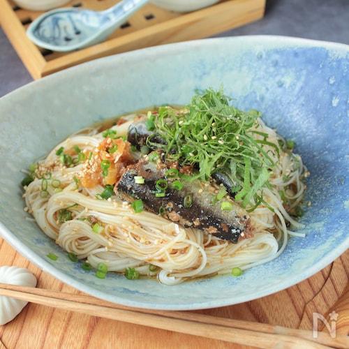 梅しそ醤油いわしヌードル・いわし缶レシピ!