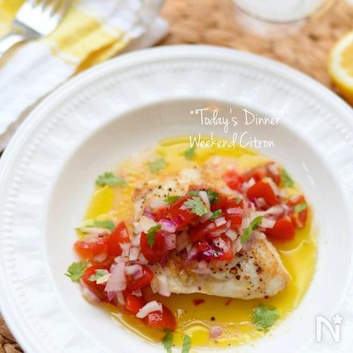 レモン香る♪さっぱり爽やかな白身魚のグリルラヴィゴットソース