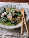 鶏と小松菜の生姜おろし煮。