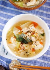 『芯から温まる♪『崩し豆腐とトロトロ長ねぎのとろみ生姜スープ』』