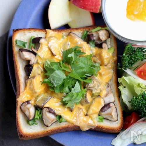 香ばし醤油のしいたけチーズトースト。