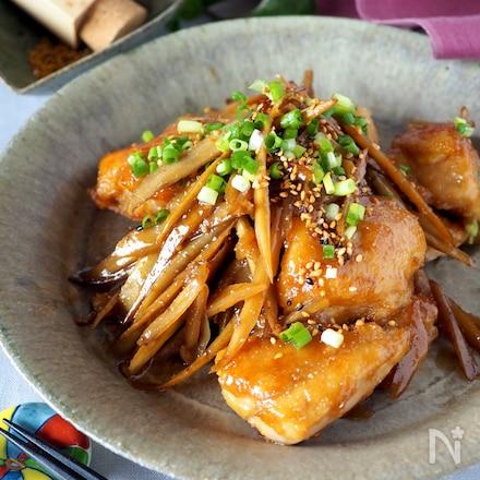 【ご飯がススム】タレが美味しい鶏むね肉とごぼうの甘辛炒め