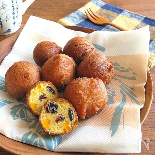 ホットケーキミックスで簡単♪かぼちゃとレーズンの揚げパン