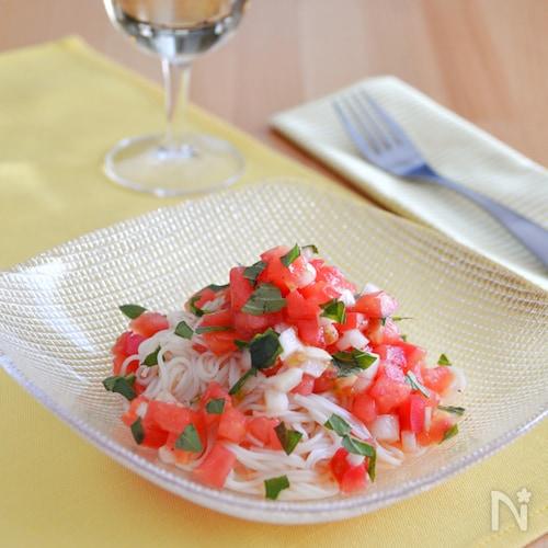トマトそうめんのカッペリーニ風。夏の冷製パスタ!ランチに♪