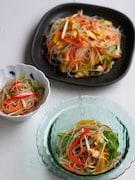 フライパンひとつで完成まで♪かにかま春雨サラダ。